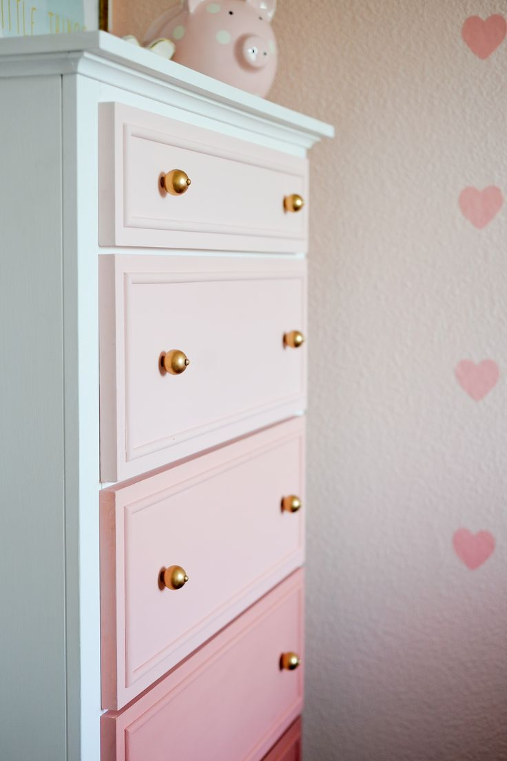 Pink Ombre Dresser in a Big Girl Room
