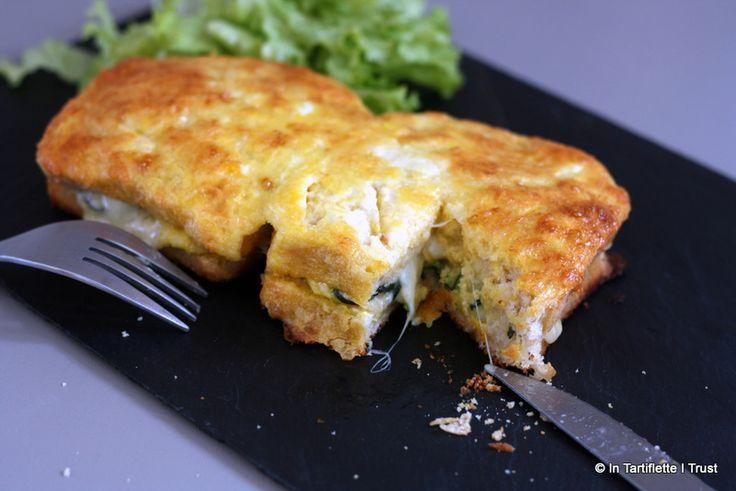 Croque-monsieur gratiné à la courgette, comté & moutarde  