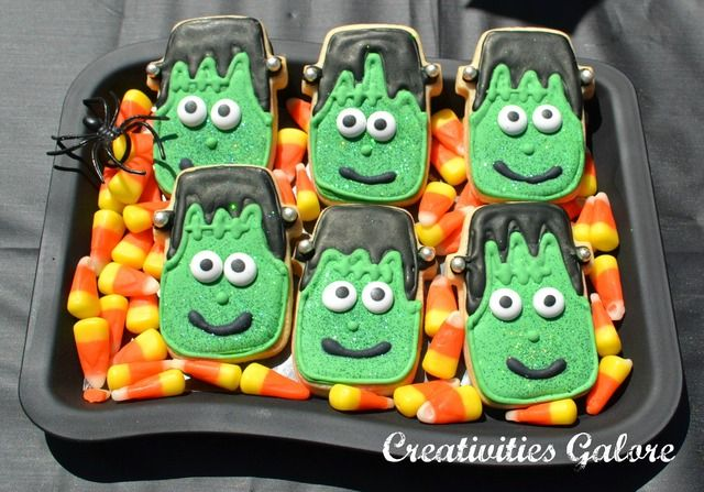 Frankenstein Cookies at a Halloween Craft Party #Halloween #craftparty