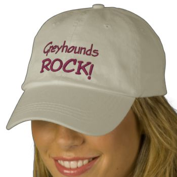 Greyhounds Rock cute embroidered baseball cap. Please visit Smilin' Eyes Treasures to see more animal, flower and nature photography and digital art cards and gifts. #animal #dog #greyhound #pet #cute #funny #humorous #rescue #greyhounds #greyhounds #rock #adoption #retired #adopted #smilineyestreasures #rescued