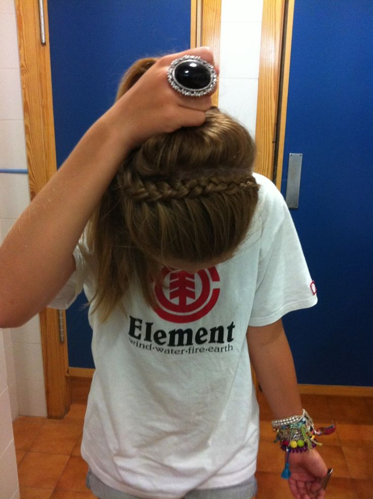 Love and super easy! Start on whatever side of your head and do an inside outside french braid but only bring the hair on the one side into it.. wear it as a headband or throw it all up :)
