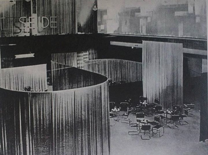 Lilly Reich/Ludwig Mies van der Rohe: Silk and Velvet Cafe, Berlin 1927.  Reich used luxurious silks and velvets to create a series of meandering screens to compartmentalize the space, which was furnished with Mies' metal chairs. All of Mies' furniture designs and his most highly regarded interiors were created during his association with Reich, who often gets little credit for her work.