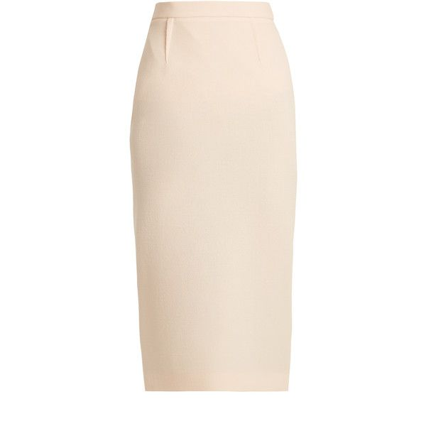 Roland Mouret Arreton double-wool crepe pencil skirt (34.125 RUB) ❤ liked on Polyvore featuring skirts, light pink, pink wool skirt, light pink pencil skirt, high-waist skirt, knee length pencil skirt and pencil skirt