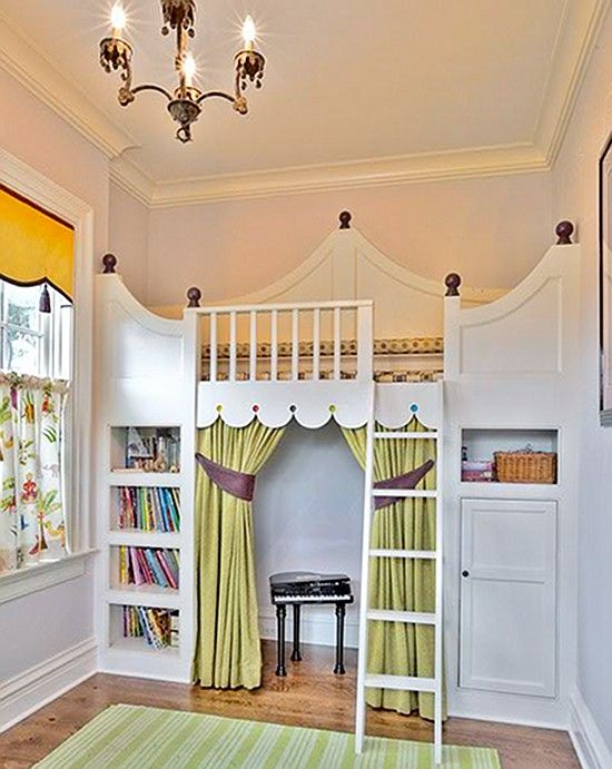 what a room this would be!Little Girls Room, Girls Bedrooms, Kids Room, Kidsroom, Kid Rooms, Plays Area, Loft Beds, Girl Rooms, Princesses Room