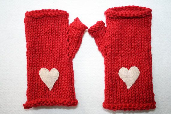 Red Wool Fingerless Gloves with Off White Felt Hearts - Custom Sizes from 2 yrs. to Adult on Etsy, $24.82 CAD
