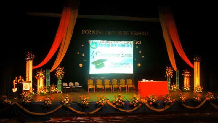 Graduation stage stage designs pinterest search and for Annual day stage decoration images