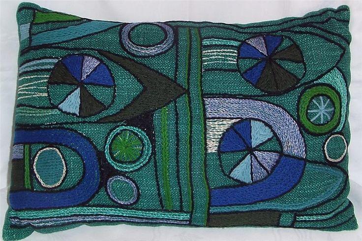Läcker KUDDE grön blå och lila Bilkudde 50-60-tal