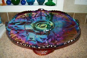 "vintage glass cake plates | VINTAGE INDIANA HEIRLOOM 15"" RED CARNIVAL GLASS CAKE PLATE & 5 1/2 ..."