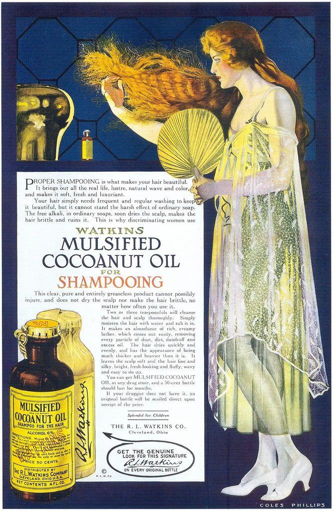 Watkins Mulsified Coconut Oil Shampoo,1918. #vintage #beauty #hair #ads #Edwardian