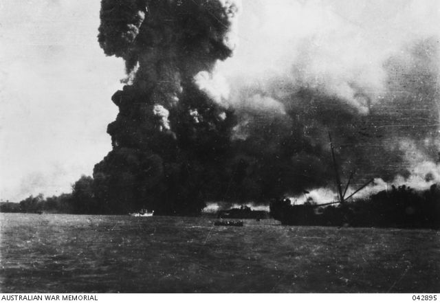 DARWIN, N.T. AUSTRALIA, 1942-02-19. THE NEPTUNIA BLOWING UP DURING THE ATTACK BY…
