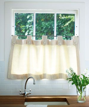 Short curtain hanging from rail on lower part of kitchen window. I'm going to refine this idea to make winter insulating covers out of brightly colored wool blankets. Warm, cozy and thrifty.