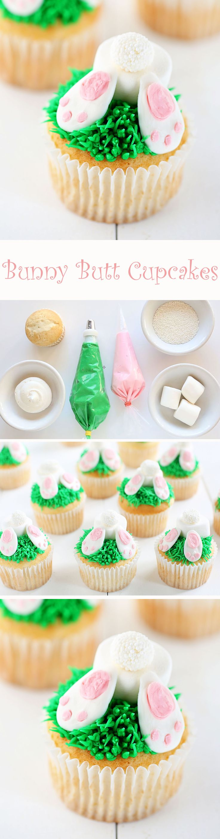 Bunny Butt Cupcakes! An adorable and delicious Easter dessert recipe.