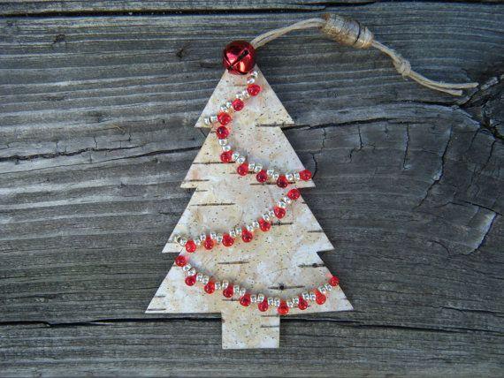 White birch bark Christmas tree ornament with a by BirchBarkBeads