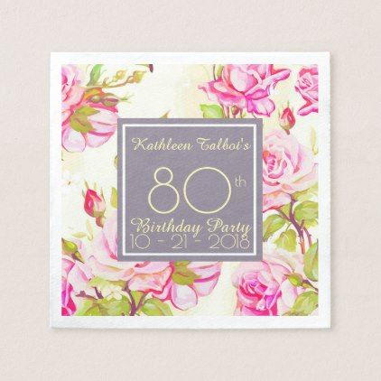 Old Roses 80th Birthday Party Paper Napkin - kitchen gifts diy ideas decor special unique individual customized