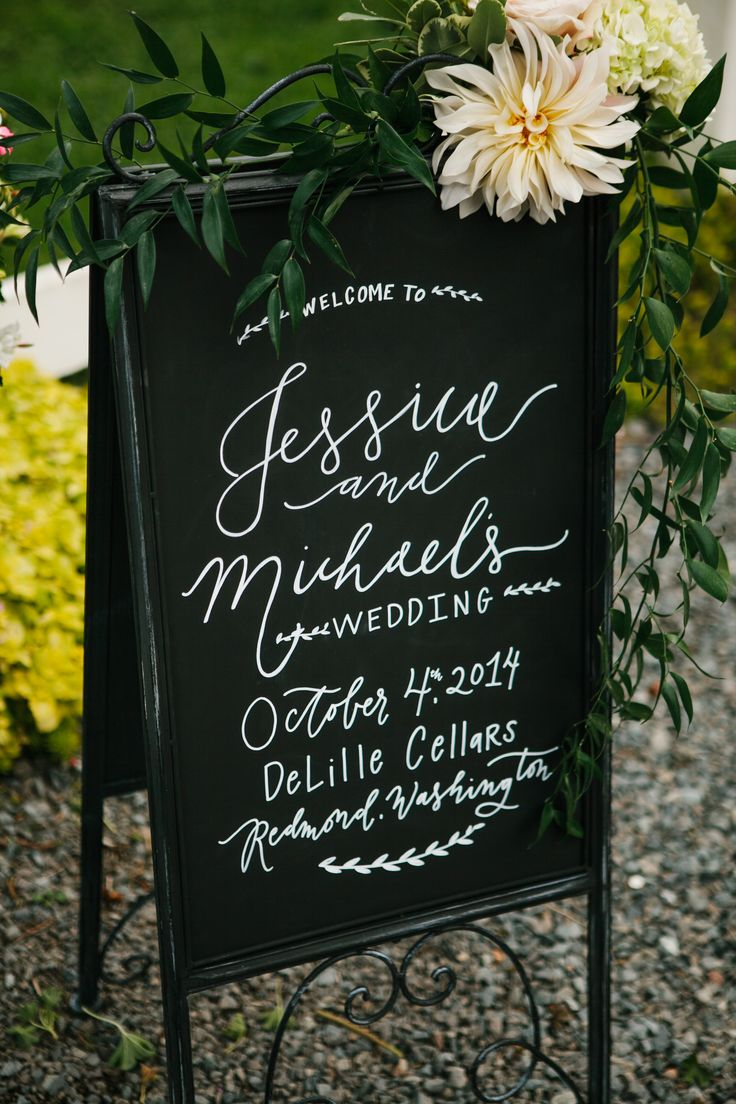 Beautiful calligraphy! View the full wedding here: http://thedailywedding.com/2016/06/12/lush-chateau-wedding-jessica-mike/