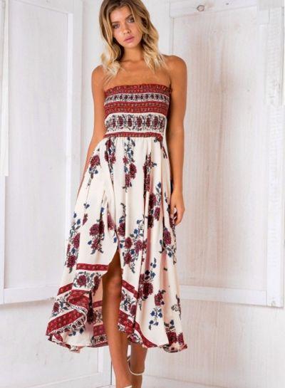Strapless Floral Printed Slit Midi Dress