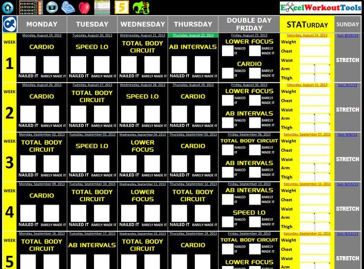 T25 Printable Workout Calendar | Master Calendars