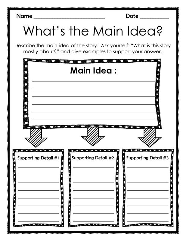 Graphic Organizer: What's the Main Idea? - Add this 3 page download to your reading and writing centers to reinforce finding the main idea within stories, books and texts. This is a great resource that can be used again and again!                                                                                                                                                                                 More