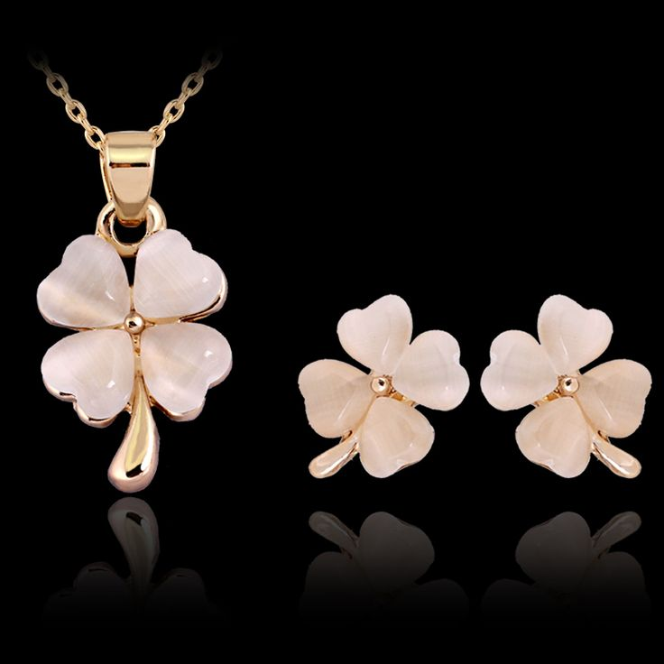 Top Quality 2016 new luxury design Set necklace Clover  Austrian crystal stone jewelry set for women gift