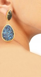 Earrings with blue druzy and labradorite