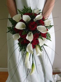 wedding bouquet  red roses and white calla lilies