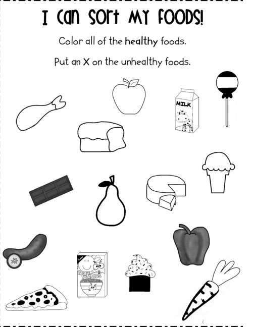 Food worksheet for kids   Crafts and Worksheets for Preschool.Toddler and Kindergarten   Worksheets for kids. Unhealthy food. School health