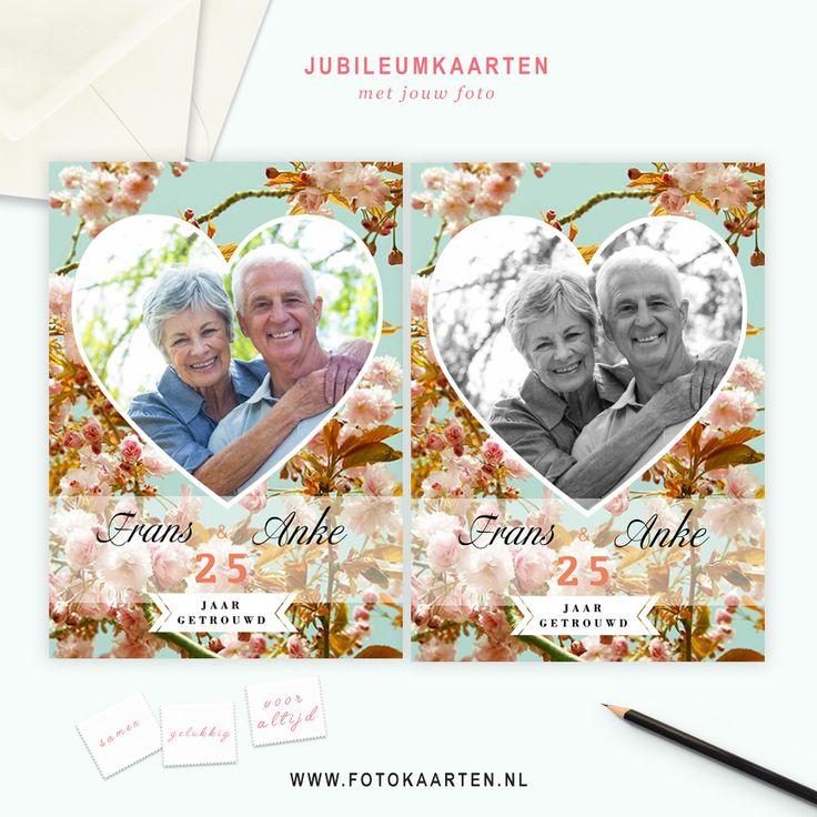 Bij Fotokaarten.nl kun je eenvoudig zien of je foto past bij de achtergrond die je hebt gekozen. Dit is een voorbeeldkaart voor een 25 jarig jubileum, maar je kunt het ook veranderen in 12,5 jaar of 50 jaar. www.fotokaarten.nl
