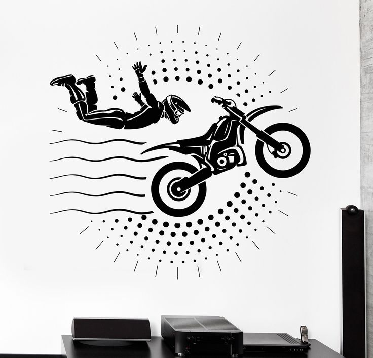 Vinyl Wall Decal Motorcyclist Stuntman Motorcycle Motorcycling Stickers Unique Gift (853ig)