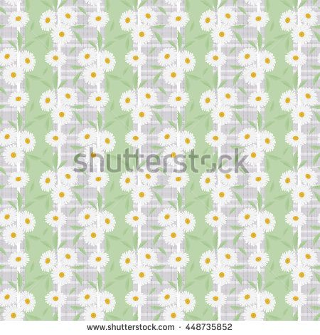 Floral seamless pattern in retro style, cute white daisies  grey background…
