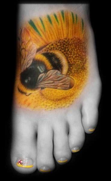 Bumble Bee Tattoo On Foot