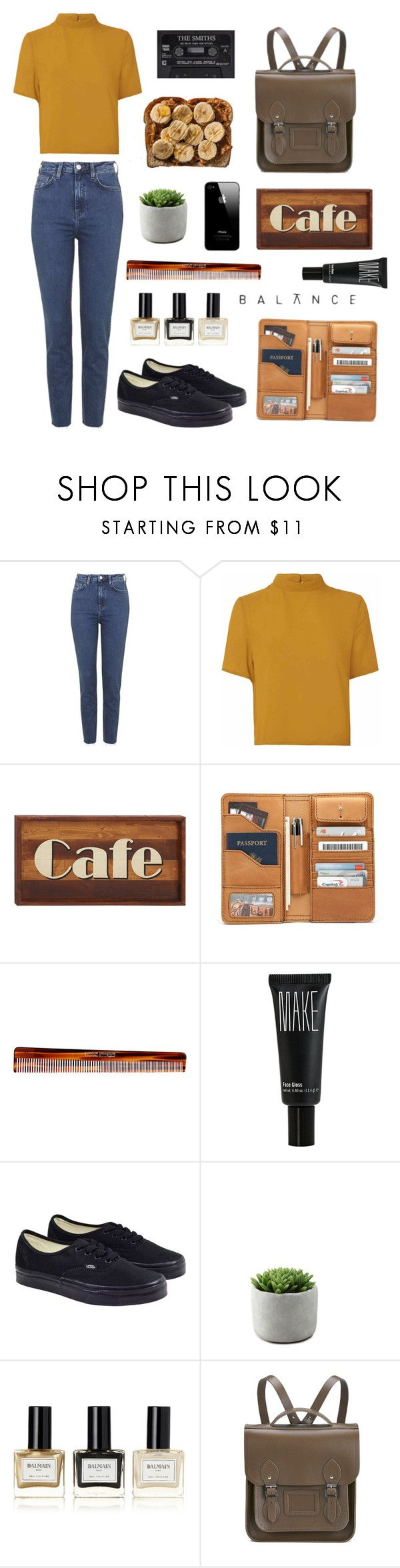 """""""🌼 People have the power! 🌼"""" by dorienooos ❤ liked on Polyvore featuring Topshop, Glamorous, Dot & Bo, Mason Pearson, Make, Vans, Balmain and The Cambridge Satchel Company"""