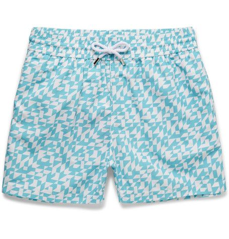 FRESCOBOL CARIOCA Azulejos Short-Length Printed Swim Shorts.  #frescobolcarioca #cloth #swimwear