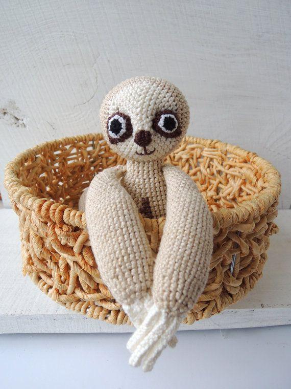 Three toed Sloth Crochet Art Doll Cute stuffed by ColoredYarn