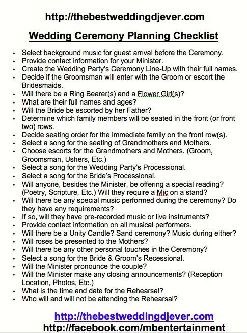 Ceremony Planning sheet Checklist - This covers EVERYTHING! Need the Best Wedding DJ Ever? Call me 954-316-2149