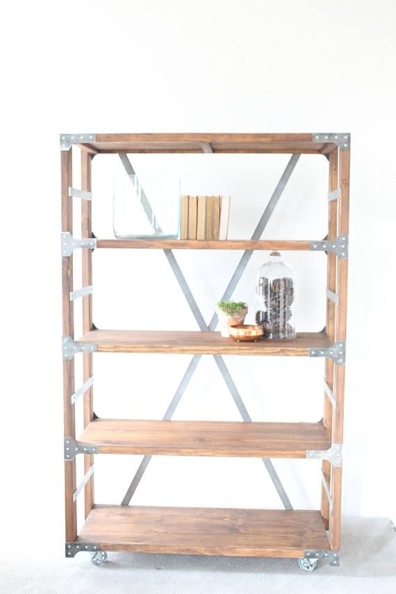 Industrial Bakers Rack Bookshelf Wood And Metal Shelf Wood And