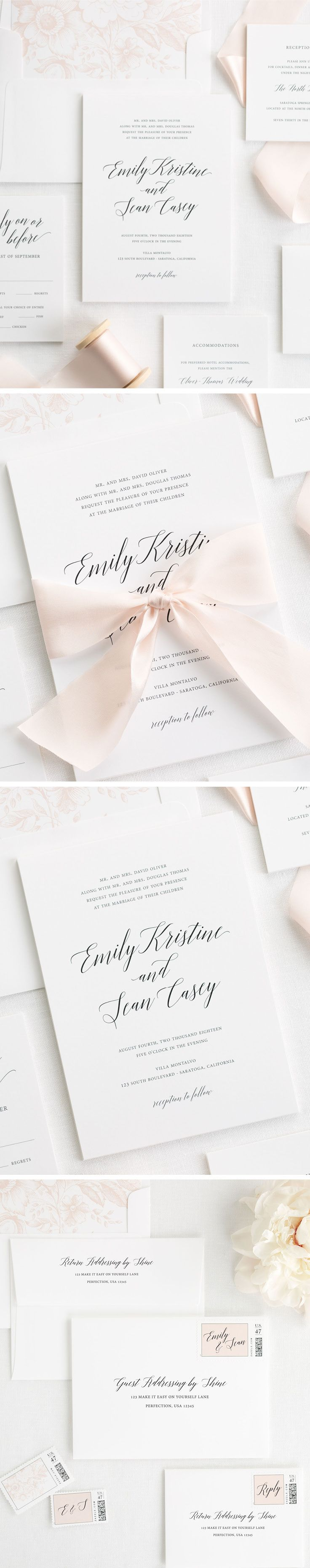 Let your wedding day shine with our romantic design, Garden Romance. This simple and classic wedding invitation mixes a romantic calligraphy font and simple block font to make subtle statement. This wedding invitation suite features a pretty blush pink floral envelope liner and is perfectly tied up with our custom dyed 100% silk ribbon in pale pink. Personalize your perfect wedding invitation with Shine!