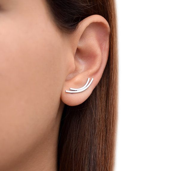 Ear climber earrings, pair of 925 solid sterling silver ear pins, up the ear sweeps, pin earings,simple