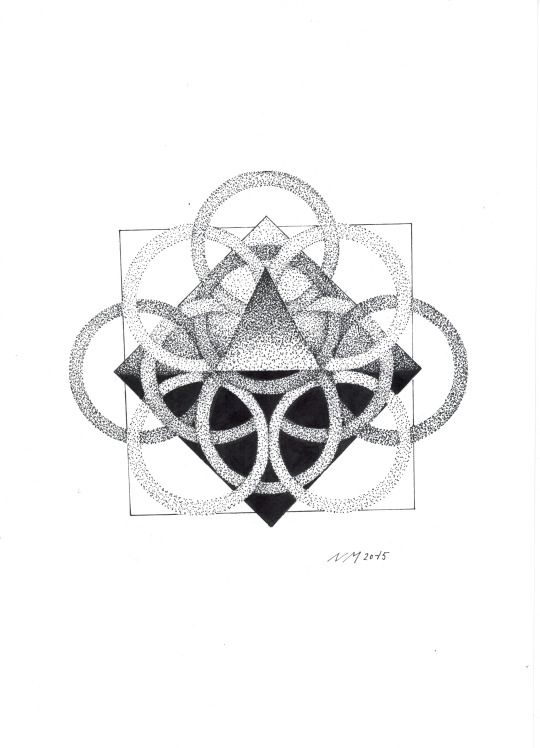 CIRCLES  tattoo design whit triangles, circles and lot of dots  A4 black ink   This is my favorite work that i ever made.