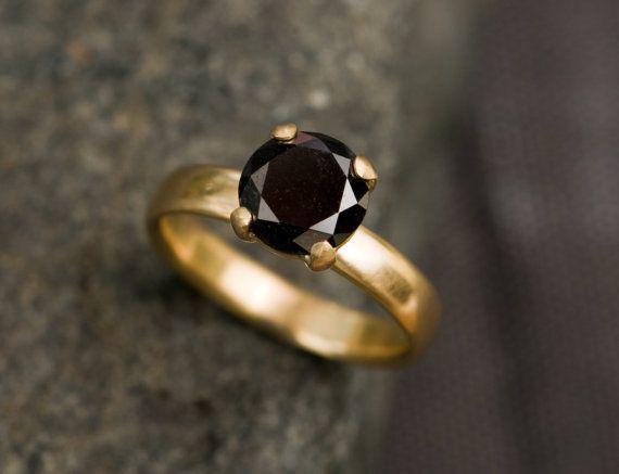 Black Diamond Ring 18K Gold Black Diamond Engagement Ring Solitaire Black…