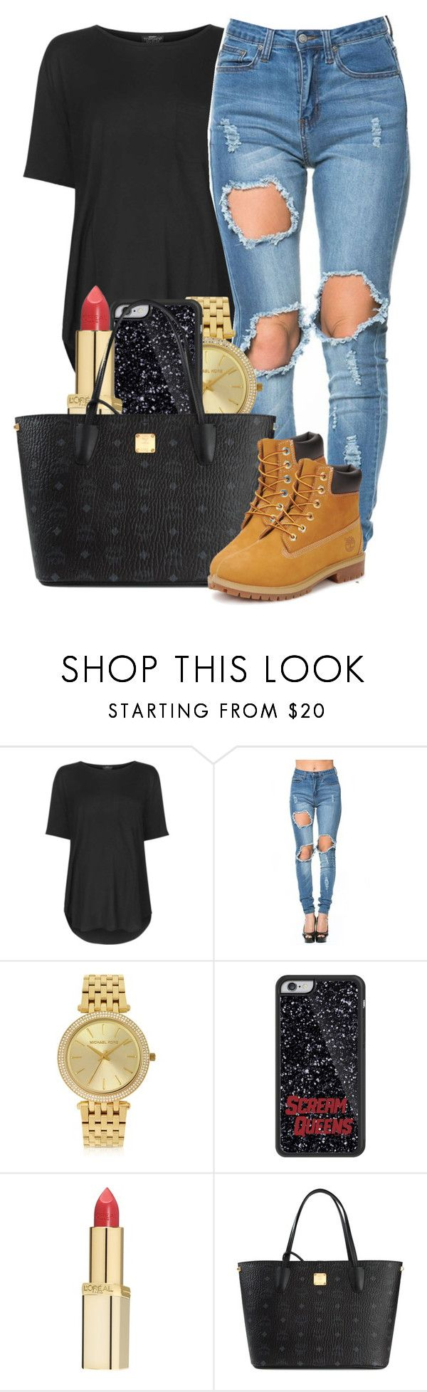 """""""10 17 15"""" by lovleyshackeria ❤ liked on Polyvore featuring Topshop, Michael Kors, L'Oréal Paris, MCM and Timberland"""