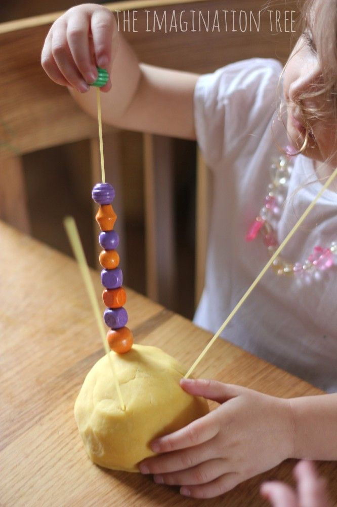 Threading-with-beads-on-spaghetti: This activity requires various pinch patterns, object manipulation, and opposition.