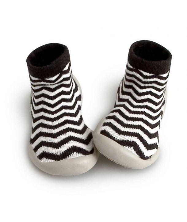 Slipper Socks Zig Zag black white