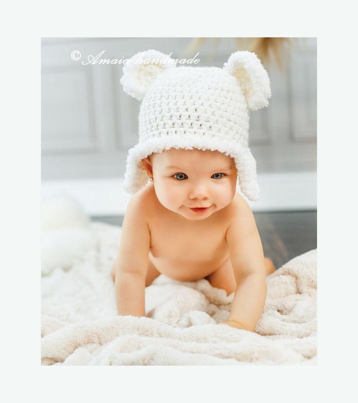 Teddy bear Hat, white teddy bear hat,teddy bear beanie, crochet teddy bear hat, newborn photo props, baby photo prop, baby animal hat by Amaiahandmade on Etsy