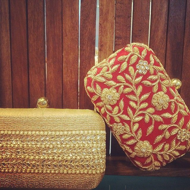 WEBSTA @ chameeandpalak - Red and gold #musthave this festive season #clutch#red#gold#Indian#indianweddings#indiancolours