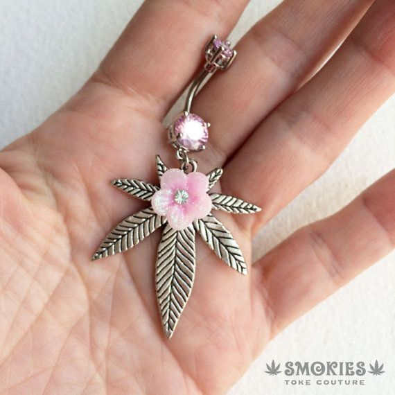 LARGE belly button ring pink belly ring by SmokiesTokeCouture