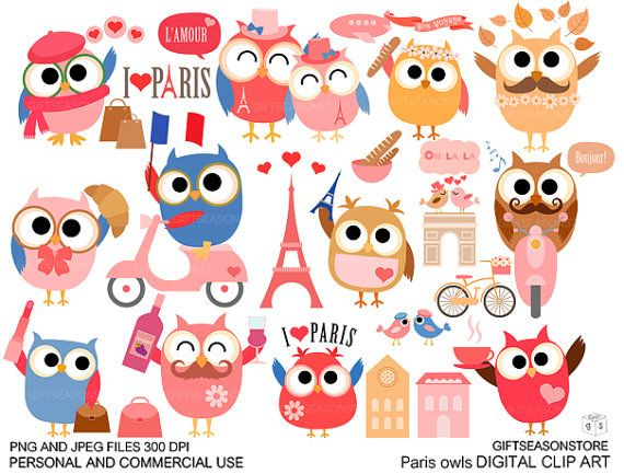 Paris owl Digital clip art for Personal and Commercial use - INSTANT DOWNLOAD