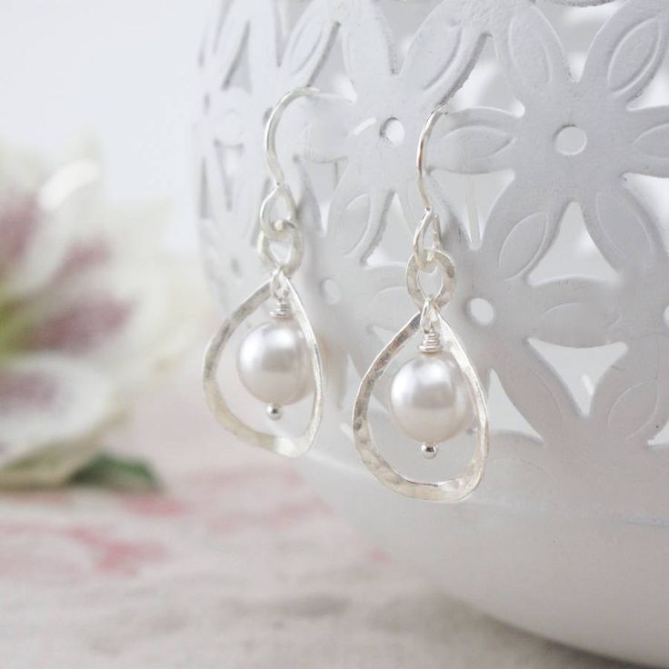 Calla Lily, Ivory Pearl And Sterling Silver Earrings