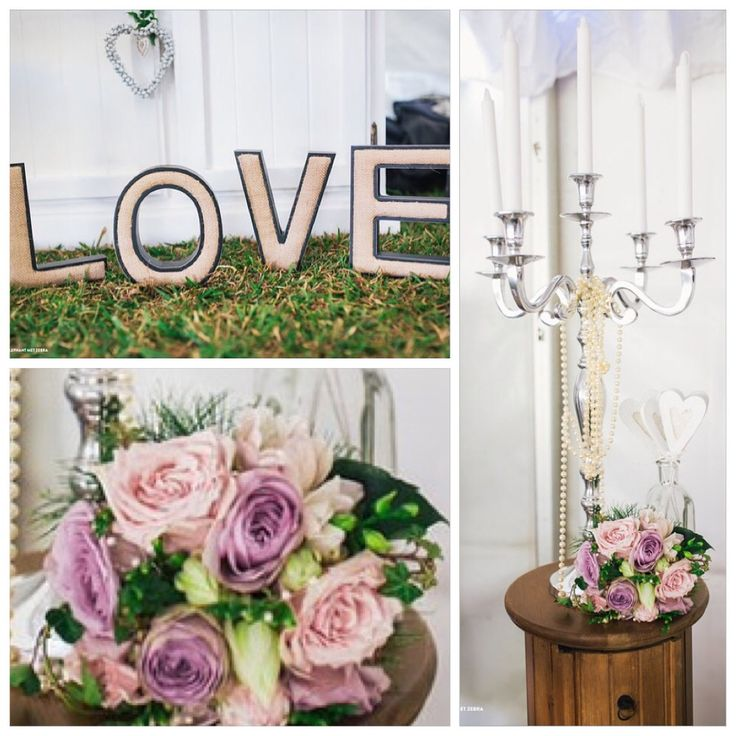 Gorgeous wooden and hessian LOVE sign, tall silver candle stick surrounded by pretty pinks. www.coastweddingcreations.com.au