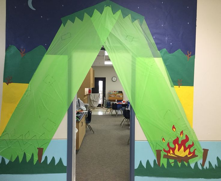 2nd grade classroom! My sweet hubby completed this wonderful tent for me! Camping theme this year!