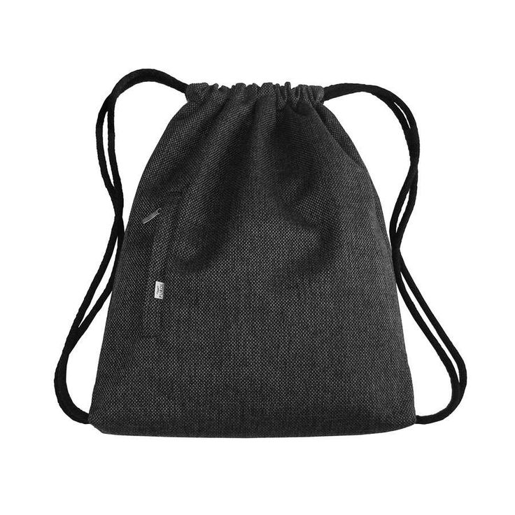 BACKPACK Drawstring Bag Hipster Sack Bag Unisex Big Dark Gray Backpack with Two Zipper Closed Pockets by PurolDesignBags on Etsy